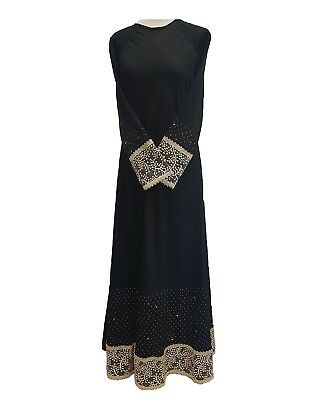 100% Wahr Abaya Black With Gold Lace Gold Stud,s On The Edges Umbrella Flare Party Dress Reinigen Der MundhöHle.