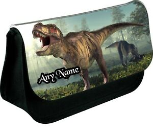 PERSONALISED-T-REX-DINOSAUR-ZIPPED-PENCIL-MAKEUP-SCHOOL-DS-BAG