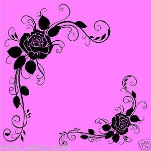 2 ecke blumen wandaufkleber vinyl wandkunst aufkleber blumen wand sticker n25 ebay. Black Bedroom Furniture Sets. Home Design Ideas