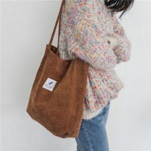 f893e21e4cf01 UK Casual Women's Canvas Corduroy Tote Bags Handbag Ladies Shoulder ...