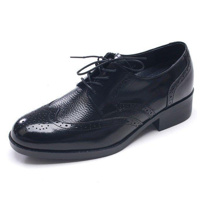 Cuero para hombre cordones Vestido arriba Perforación puntada extremos del ala aumento plantilla Vestido cordones Negro Zapatos 671115