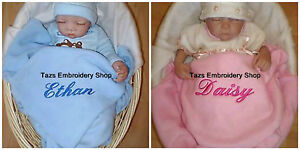 PERSONALISED LUXURY BABY BLANKET NAME EMBROIDERED BOY GIRL BIRTH NEW BABY GIFT