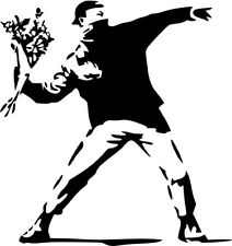 "BANKSY RAGE THE FLOWER THROWER SYMBOLIC Vinyl Decal Sticker-6"" Tall White Color"
