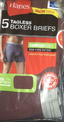 5pk Hanes TAGLESS Boxer Briefs with Comfort Soft waistband Assorted Colors Large