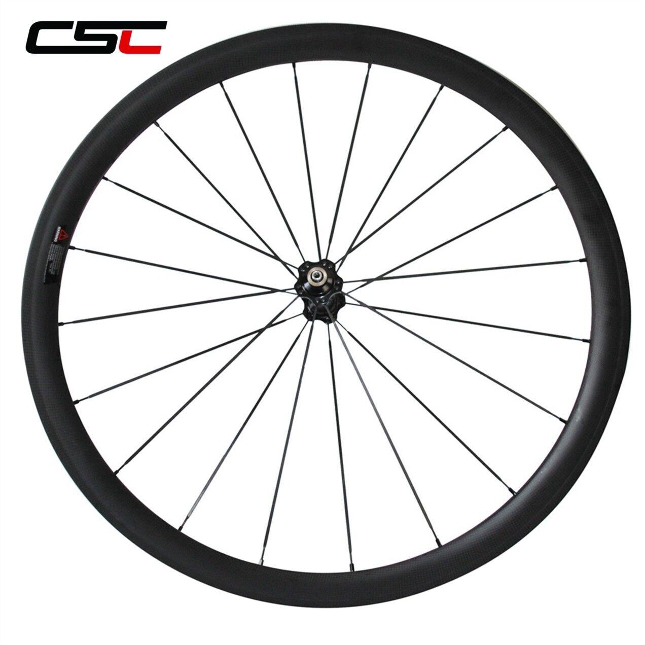 700 C sólo frontal de carbono bicicleta de carretera Remachador Tubuar ruedas de carbono y Novatec hub