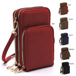 Women PU Wallet Crossbody Bag Shoulder Pouch Holder Cell Phone Purse Card Case