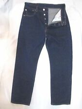 LEVI'S 501 STF Button Fly 100% Cotton Dark Wash Denim Jeans Men's 29 X 27.5**