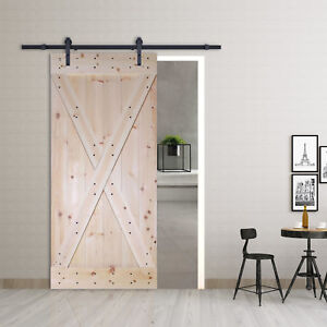 Details about 6FT Frosted Black Sliding Door Hardware w/Unfinished Pine  Interior DIY Barn Door