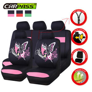 Universal-BLACK-PINK-Car-Seat-Covers-China-Face-For-Girl-Bench-Split-40-60-50-50