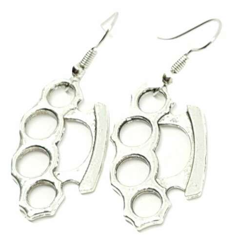 Silver Knuckle Duster Earrings Punk Skinhead Emo Goth Alternative Quality UK