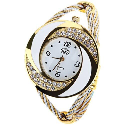 ASAMO Damen Spangenuhr Armbanduhr Analog Quarz Uhr Armreif Spange AMA033