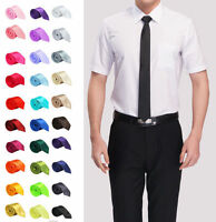 Mens Skinny Slim Tie Solid Color Plain Silk Jacquard Woven Party&Wedding Necktie