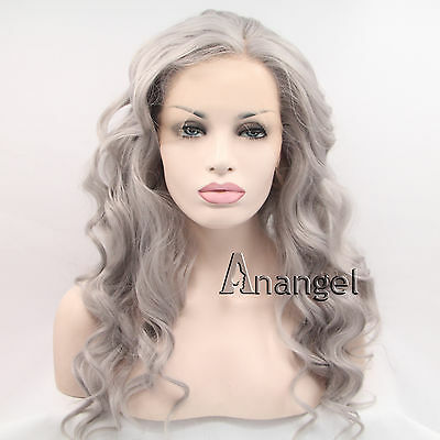 Ash Grey Lace Front Wig long Natural wavy Gray Synthetic hair Silver Women Wigs