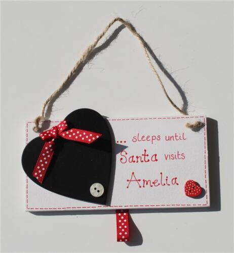 Personalised Wooden Countdown to Christmas Advent Sign Sleeps Until Santa Visits