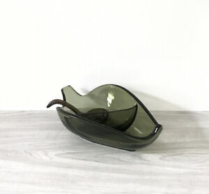 Vintage-Glass-Divided-Relish-Condiment-Bowl-with-Glass-Spoon-Beautiful-Green