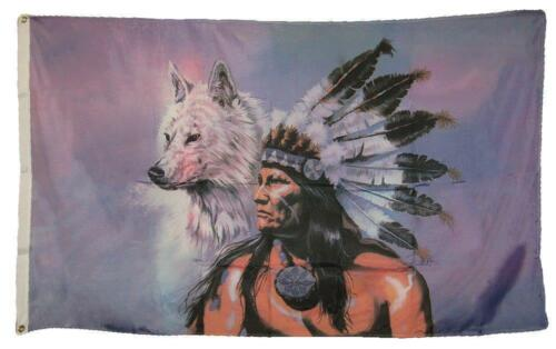 3 X 5 Indian And White Wolf Flag With Grommets