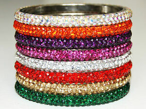 574a690fb6eb2 Details about Gorgeous Sparkly Fabulous Diamante Rhinestone Crystal Bangles  Beautiful Colours