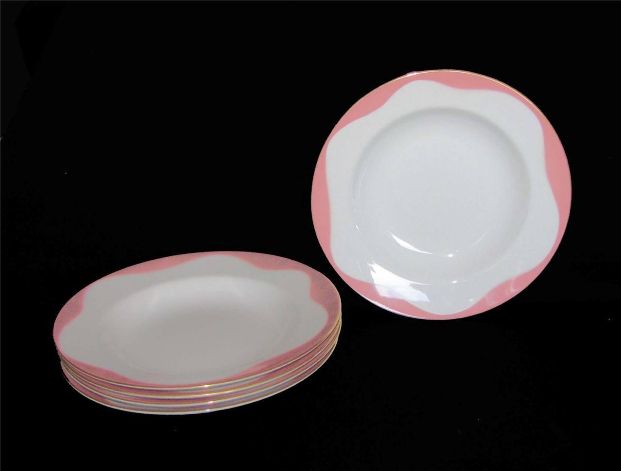 5 Sango Vtg Coral & White Wave Design Wide Rimmed gold Border Soup Bowls EXC NEW
