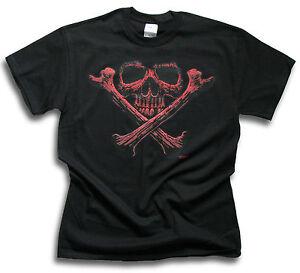 Mens-Black-T-Shirt-Biker-Red-Skull-Bones-Sm-3XL-Front-or-Rear-Screen-Print