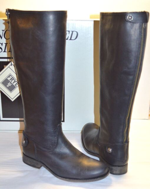 40e71255b7e New  388 Frye Melissa Button Back Zip Black Vintage Extended Boots  Tall Riding