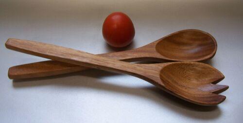 Salatbesteck Holz Besteck Löffel Gabel 30x6cm Unikat servieren Akazieholz Neu