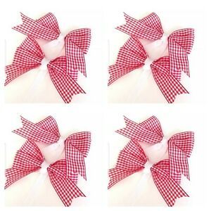 Handmade Girls Red School Gingham Hair Bow Bobbles Sold In Pairs