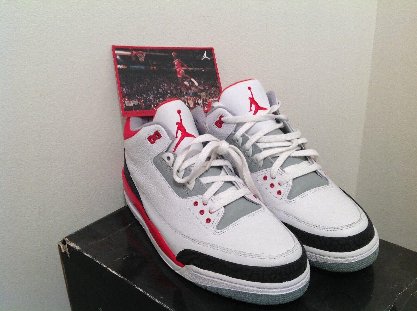 AIR Jordan 3 Retro White Fire Red-Cem Grey Size 13 136064-161 brand NEW   Xi III