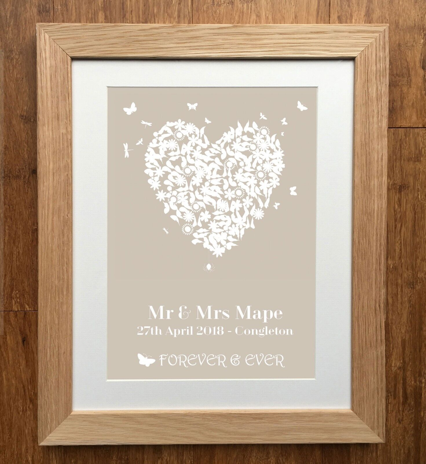 Personalised Wedding Heart Wedding Print - Butterfly Bird - Engagement Print