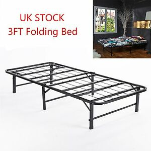 Folding guest bed 3ft single folding away up bed metal bed for Single bed frame without headboard