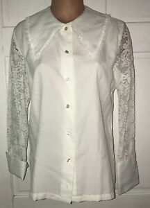 Vintage 60s Ship N Shore White Lace Collar Long Sleeved Blouse