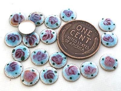 Vintage 7mm Blue Enameled Metal Guilloche Floral Cabs 14