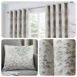 Curtina-ELMWOOD-Silver-Metallic-Jacquard-Woven-Eyelet-Curtains-amp-Cushions