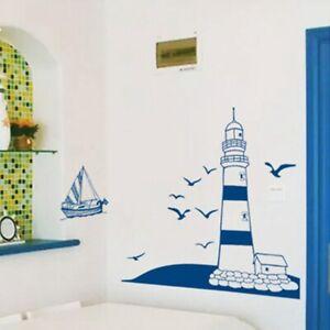 1-Chic-Seeboot-Leuchtturm-Meer-Ozean-PVC-Wandaufkleber-Home-Wandbild-SvKHk