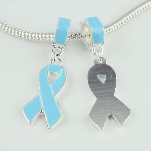 1 Blue Ovarian Krebs Bewusstsein Schleife Lang Perlenarmband Charm Anhänger Usa Starke Verpackung