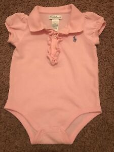Clothing, Shoes & Accessories Baby & Toddler Clothing Honesty Euc Ralph Lauren Baby Girl 9 Months Light Pink Romper Bodysuit One Piece Exquisite Craftsmanship;