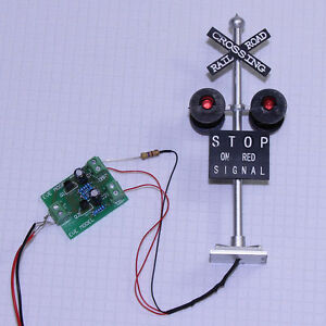 1-set-N-Scale-Railroad-Crossing-Signals-4-heads-LED-made-Circuit-board-flasher