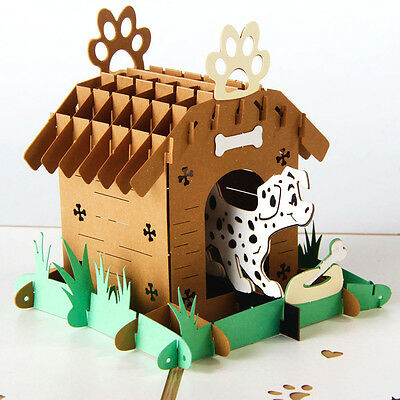 Pet Dog Home House 3D Pop up Greeting Card Happy Birthday Gift for kids