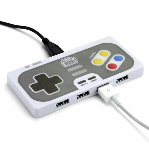 Super Hub PlayHub 4 Port USB 2.0 Hub Retro Game Controller Style
