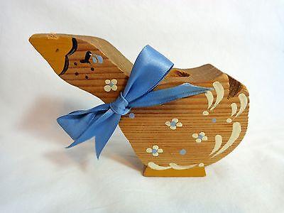 "Vintage TOOTHPICK HOLDER 1986 DUCK GOOSE 5"" Wood Handmade Brown Blue"