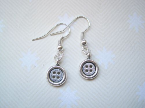 CUTE TINY SILVER BUTTON Tibetan Silver Drop Earrings Rockabilly Retro Gift Bag