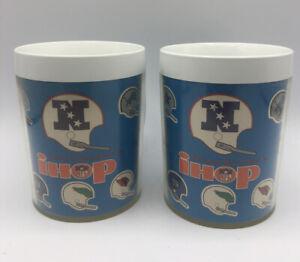 2-Vintage-Thermo-Sew-iHop-NFL-NFC-Helmet-Plastic-Cups-Football-Cowboys-Packers