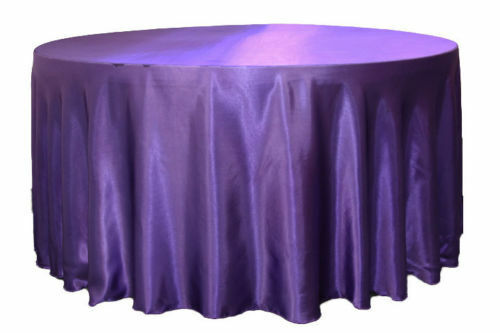 """5 Pack 132/"""" Inch round Satin Tablecloth 21 COLORS Table Cover Wedding Banquet"""