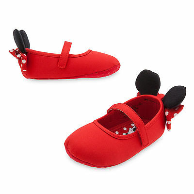 Disney Store Mickey Mouse Red Plush Baby Shoes Slippers Size 6 12 18 24 Months