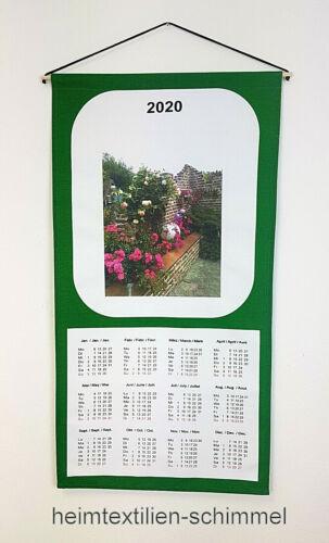 Textiler Wandkalender 2020 Textilkalender Stoffkalender Kalender ROSEN 35x65cm