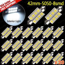 20X NEW White 211-2 578 42MM 5050 8 SMD Festoon Dome Map Interior LED Light bulb