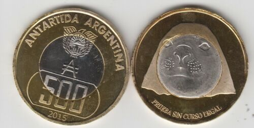 unusual ARGENTINIAN ANTARCTIC,500 Australes 2015 Ø35mm bimetal elephant seal