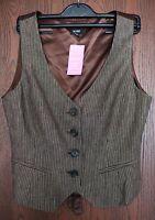 Womens waistcoat HOBBS size 12 brown pin stripe SEXY