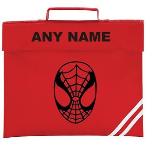 Image is loading Personalised-Spiderman-Style-School-Book-Bag-ANY-NAME- f01f526c99740