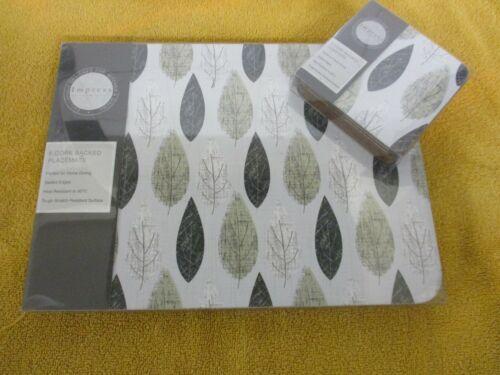 Lot 6 Napperons et correspondants Coasters impressionner feuilles d/'automne maison salle à manger Entièrement neuf dans sa boîte