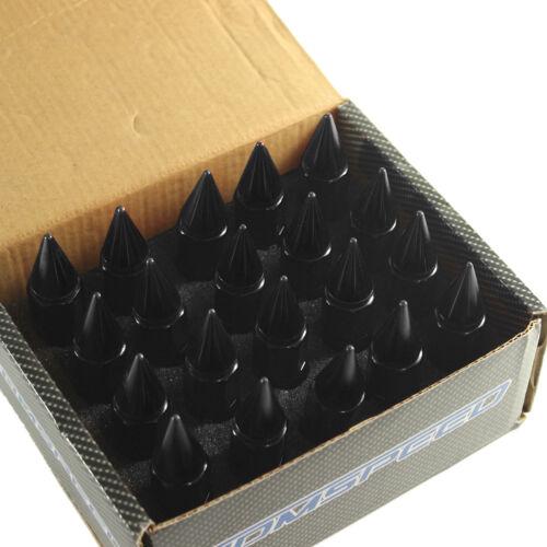 Black 20PCS M12X1.5 60mm Cap Spiked Extended Tuner Aluminum Wheels Rim Lug Nuts